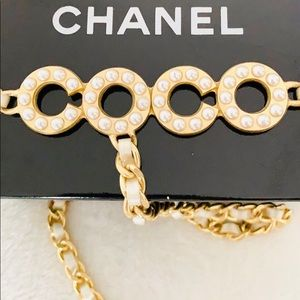 CHANEL Coco Gold Chain Pearls CC Medallion Belt